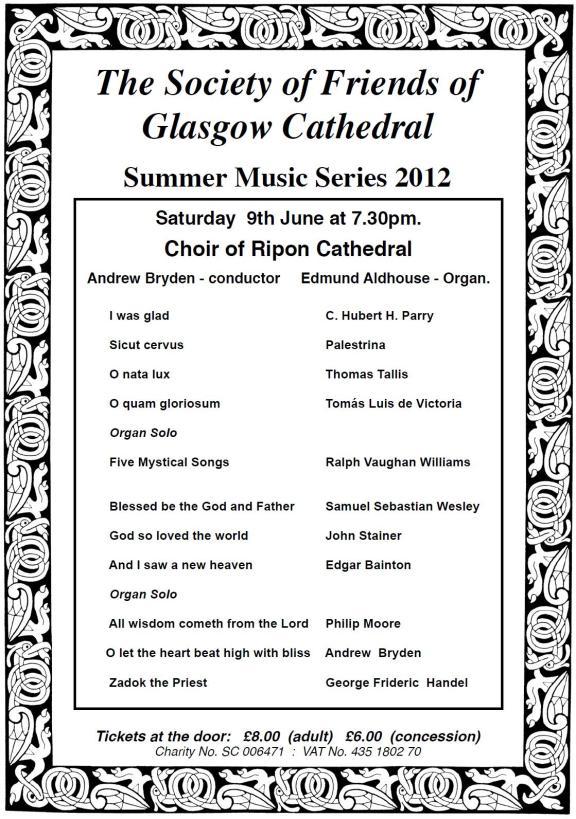 Glasgow Cathedral Summer 2012 programme | Lanarkshire Organists